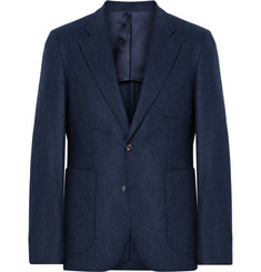 SALLE PRIVÉE Midnight-Blue Havre Slim-Fit Wool-Flannel Blazer