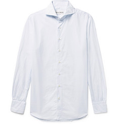 SALLE PRIVÉE - White Evron Slim-Fit Cutaway-Collar Pinstripe Cotton-Poplin Shirt