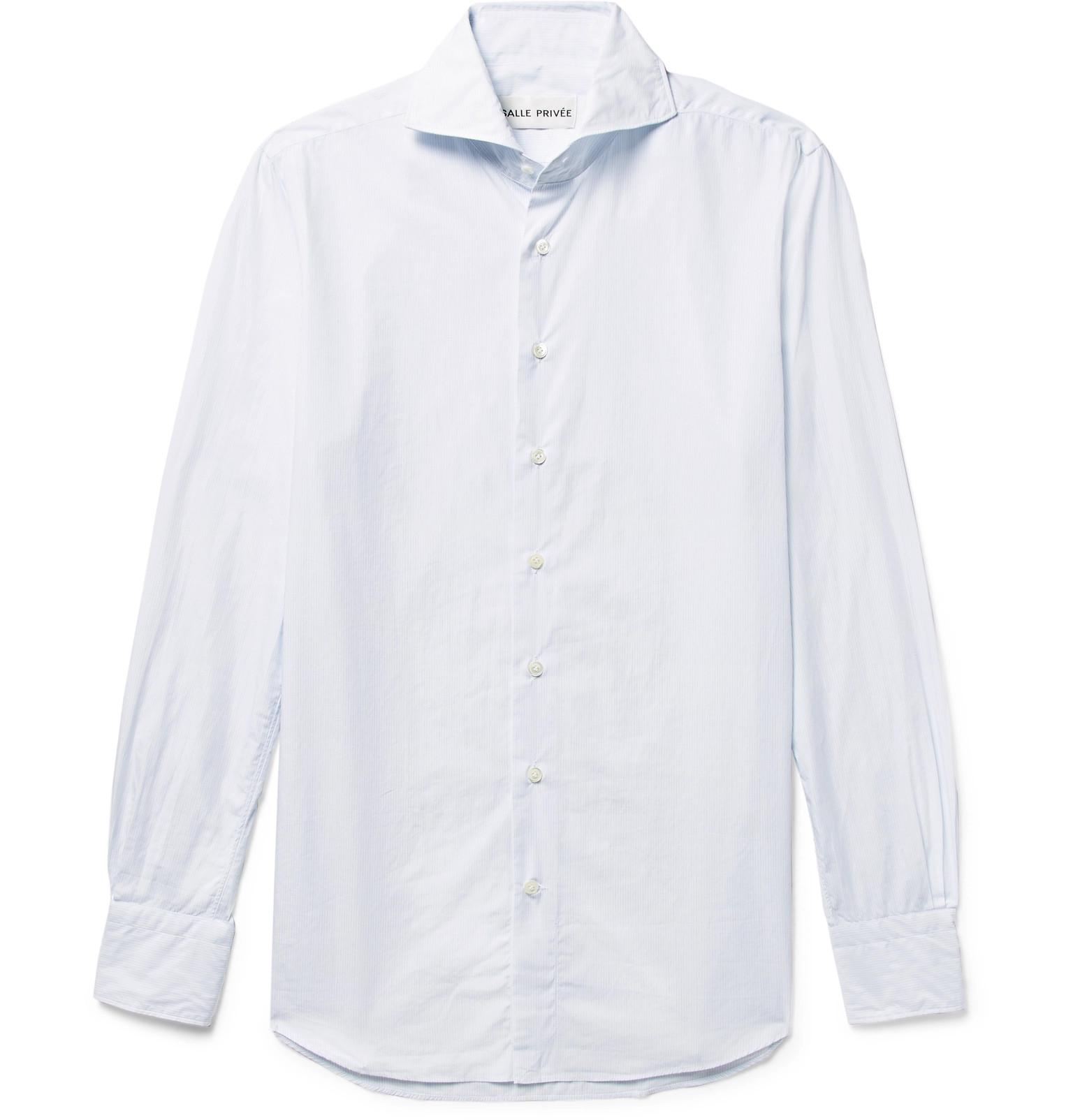 Salle Prive White Evron Slim Fit Cutaway Collar Pinstripe Cotton