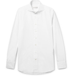SALLE PRIVÉE White Evron Slim-Fit Cutaway-Collar Cotton-Poplin Shirt