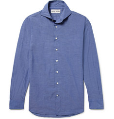 SALLE PRIVÉE - Blue Evron Slim-Fit Cutaway-Collar Cotton-Poplin Shirt