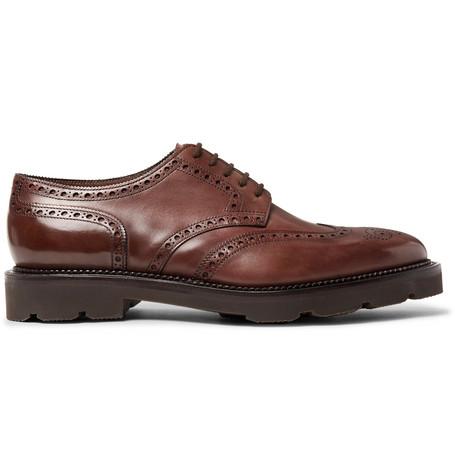 John Lobb Hayle Leather Wingtip Brogues In Brown