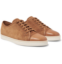 John Lobb Levah Leather-Trimmed Suede Sneakers