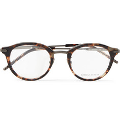 Bottega Veneta Round-Frame Tortoiseshell Acetate and Gunmetal-Tone Optical Glasses