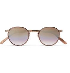 Garrett Leight California Optical Wilson 46 Round-Frame Acetate and Bronze-Tone Mirrored Sunglasses
