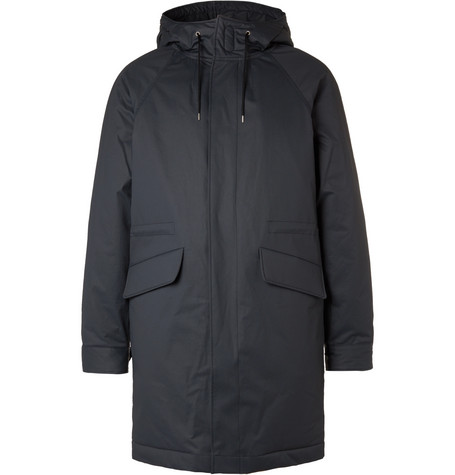 Padded Hooded Cotton-blend Parka - Charcoal