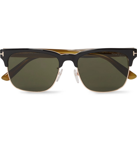 Tom Ford Louis D-Frame Rose Gold-Tone And Acetate Sunglasses In Black