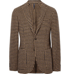 Incotex Brown Slim-Fit Unstructured Houndstooth Wool-Blend Blazer