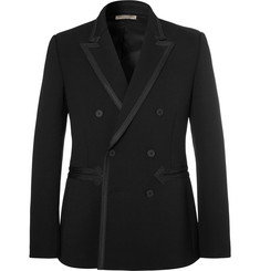 Bottega Veneta - Black Slim-Fit Grosgrain-Trimmed Stretch-Twill Tuxedo Jacket