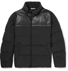 Bottega Veneta - Leather-Panelled Wool-Blend Shell Down Jacket
