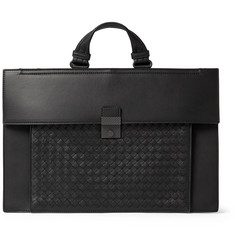 Bottega Veneta Intrecciato-Panelled Leather Briefcase