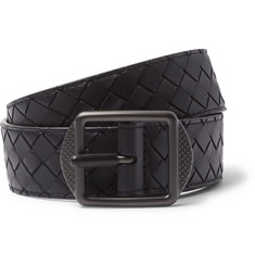 Bottega Veneta 3.5cm Navy Intrecciato Leather Belt