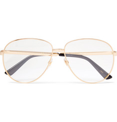 Gucci Aviator-Style Enamelled Gold-Tone Optical Glasses