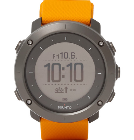SUUNTO TRAVERSE AMBER STAINLESS STEEL AND SILICONE GPS WATCH