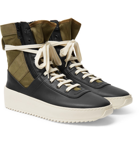 Jungle Leather And Canvas High-top Sneakers - Black