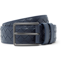 Bottega Veneta - 3cm Blue Intrecciato Leather Belt