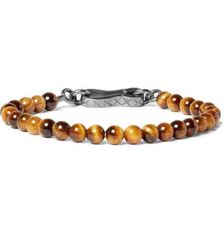 Tiger's Eye Bead And Oxidised Silver Bracelet by Bottega Veneta