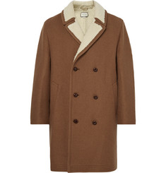 Gucci Double-Breasted Embellished Faux Shearling-Lined Wool and Mohair-Blend Coat