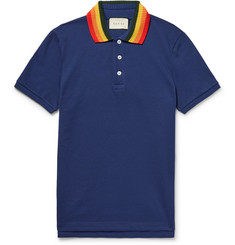 Gucci Slim-Fit Appliquéd Stretch-Cotton Piqué Polo Shirt
