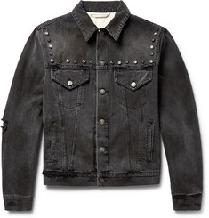 Gucci Embellished Hand-Painted Distressed Denim Jacket