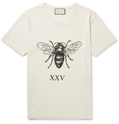 Gucci Distressed Printed Slub Linen T-Shirt