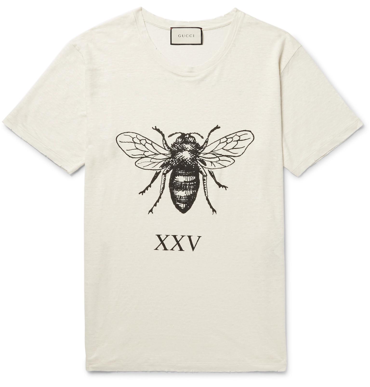 gucci t shirt. gucci distressed printed slub linen t-shirt t shirt