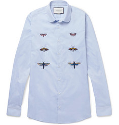 Gucci Duke Slim-Fit Penny-Collar Embroidered Cotton Shirt