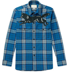 Gucci Embroidered Checked Wool and Cashmere-Blend Flannel Shirt