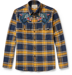 Gucci Embroidered Checked Cotton-Flannel Shirt