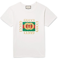 Gucci Distressed Glittered Cotton-Jersey T-Shirt