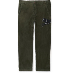 Gucci Cropped Appliquéd Tie-Dyed Stretch-Cotton Corduroy Trousers