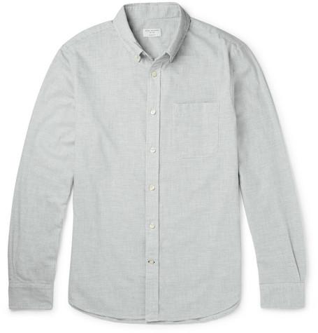 Slim-fit Button-down Collar Puppytooth Cotton-flannel Shirt - Gray