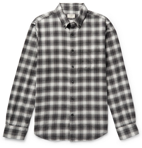 Button-down Collar Checked Cotton-flannel Shirt - Dark gray