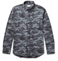 Club Monaco - Button-Down Collar Camouflage-Print Donegal Cotton-Blend Shirt