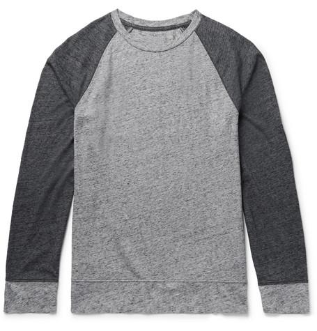 Colour-block Mélange Cotton-blend Jersey T-shirt - Gray
