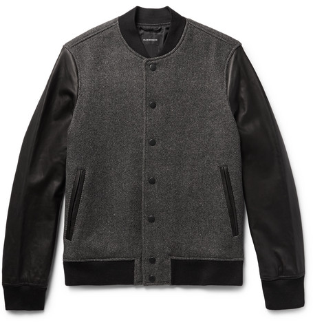 club monaco male woolblend twill and leather bomber jacket