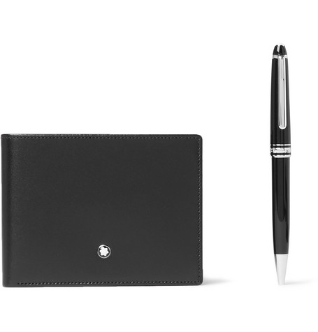 265cd7c3963bf MONTBLANC MEISTERSTÜCK LEATHER BILLFOLD WALLET AND CLASSIQUE RESIN AND  PLATINUM-PLATED BALLPOINT PEN SET,