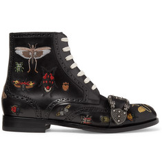 Gucci Embroidered Leather Brogue Boots