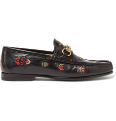 Gucci Embroidered Horsebit Leather Loafers