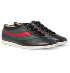 Gucci Falacer Embroidered Textured-Leather Sneakers