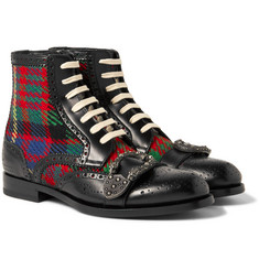 Gucci - Embellished Leather and Tartan Tweed Brogue Boots
