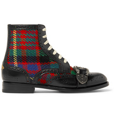 Gucci Embellished Leather and Tartan Tweed Brogue Boots