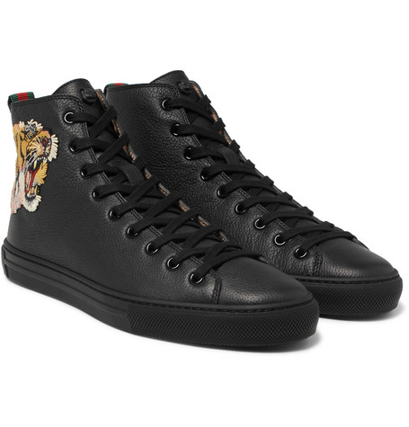 Major Tiger-appliquéd Full-grain Leather High-top Sneakers - Black