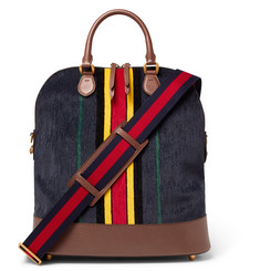 Gucci Full-Grain Leather-Trimmed Velvet Bag