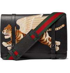 Gucci Embroidered Appliquéd Textured-Leather Messenger Bag