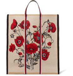 Gucci - Embroidered Leather-Trimmed Canvas Tote