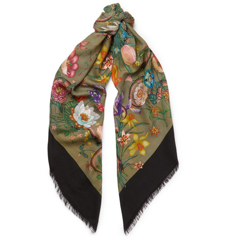 Gucci Fringed Printed Wool And Silk-Blend Twill Scarf In Green