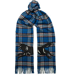 Gucci Fringed Embroidered Checked Wool Scarf