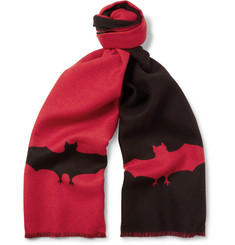 Gucci Fringed Two-Tone Bat-Patterned Wool-Jacquard Scarf