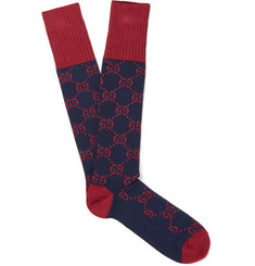 Gucci Monogrammed Jacquard-Knit Stretch Cotton-Blend Socks